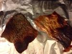 Broiling salmon skin