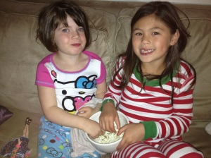 Cousin Jacqueline and Maggie enjoying it!